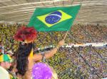 Brazil flag waved at football match