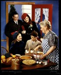 McCall's Magazine Cover, family arriving in kitchen, gathering around food