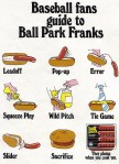 Retro hotdog/baseball advert