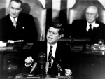 John F Kennedy, giving some speech or other