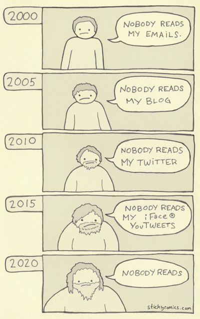 "Timeline of ""nobody reads"" comic"