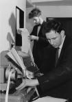 Students working on a statistics machine