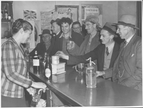 Guys at a bar in Australia, during World War Two.