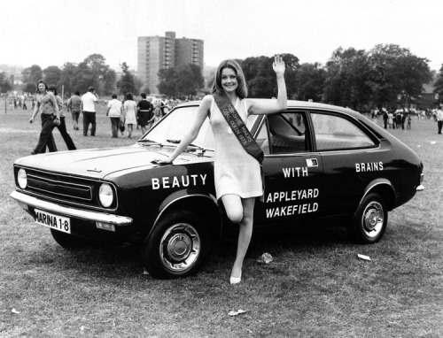 Miss Coal Queen 1973, with a Morris Marina
