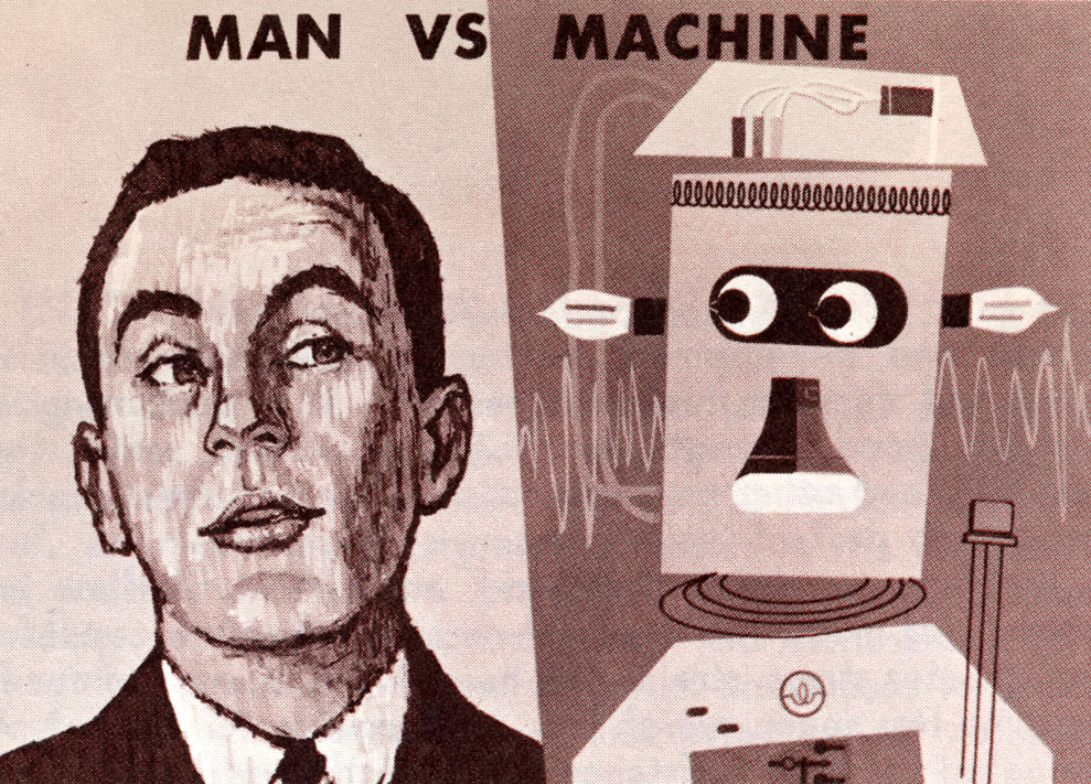 man verses machine essays Essays robots vs humans robots vs humans 7 july 2016 bar tenders will turn into machines sitting at all barstools lastly, drivers.