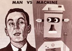Picture of man vs machine