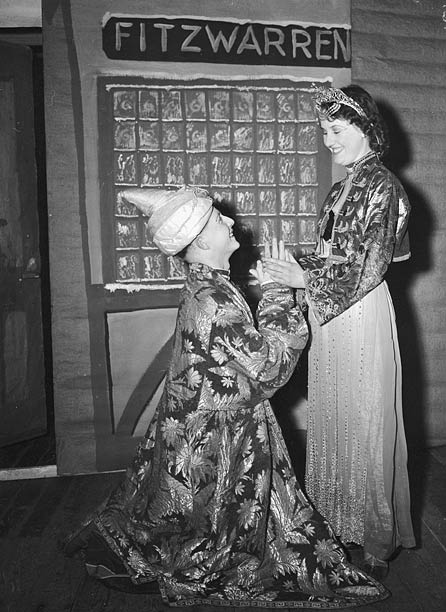 Two people acting in a pantomime