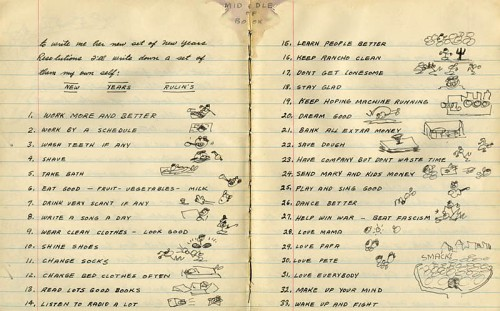 Woody Guthrie's New Year's Resolutions