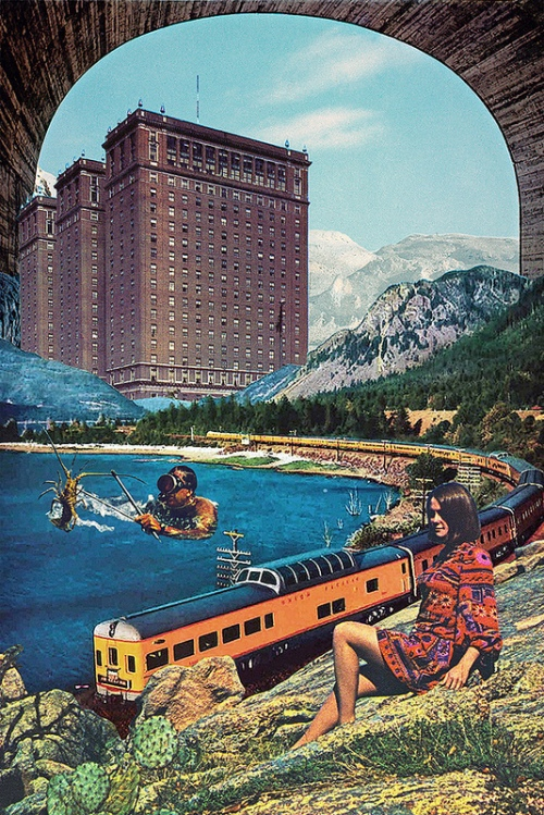 Strange collage, pool, buildings, train