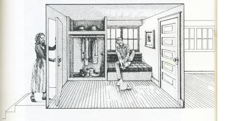 man in room, woman entering room
