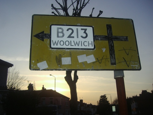Sign pointing to Woolwich