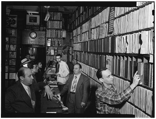 Men in record shop