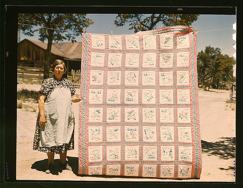 woman with patchwork quilt