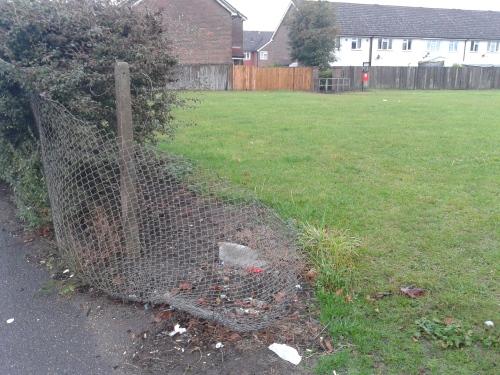 Broken fence into park