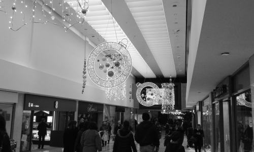 Christmas lights in shopping mall