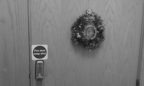 Christmas wreath on office door