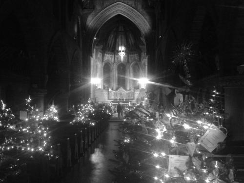 Trees in church, aisle