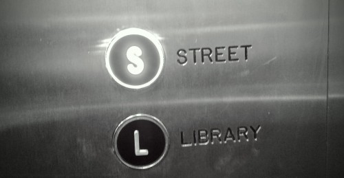"elevator buttons - ""STREET"" and ""LIBRARY"""