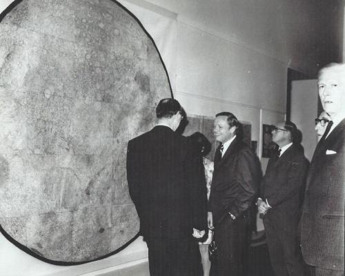Neil Armstrong views Wilkins' map