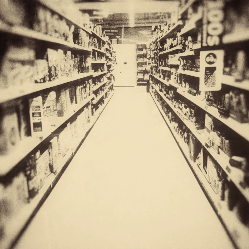 Aisle of supermarket convenience store